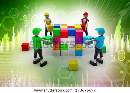 3d people in teamwork - stock photo