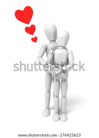 3d people kiss. 3d image. Isolated white background - stock photo