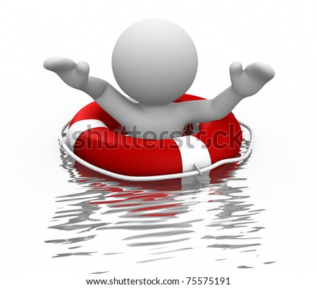 3d people - man and life-buoy - stock photo