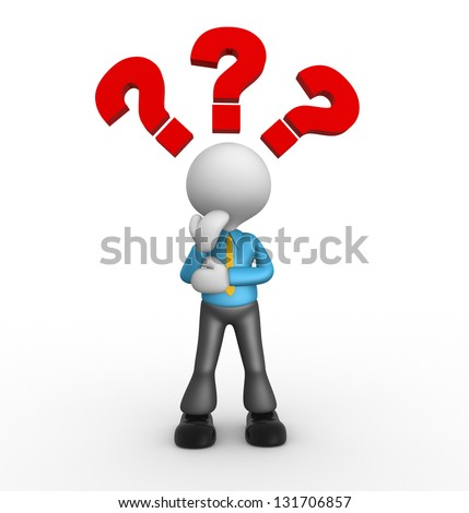 3d people - man, people thinking with red question marks above his head over - stock photo