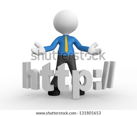 3d people - man, people with a word HTTP://. - stock photo