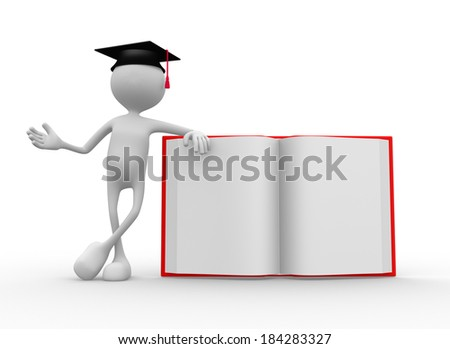 3d people - man, persaon and open book - stock photo