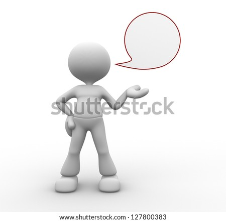 3d people - man, person and a blank speech bubble - stock photo