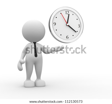 3d people - man, person and a clock - stock photo