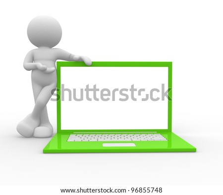 3d people - man, person and a laptop - stock photo