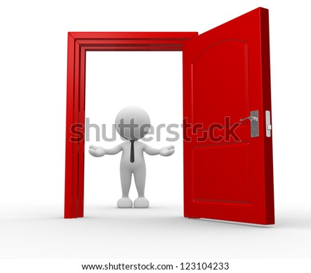 3d people - man, person and a open door. Businessman. Welcome - stock photo