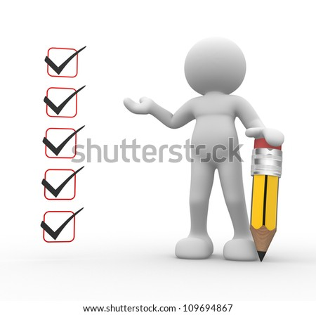 3d people - man, person and a pencil with check list. - stock photo