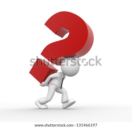 3d people - man, person and a question mark. Businessman - stock photo