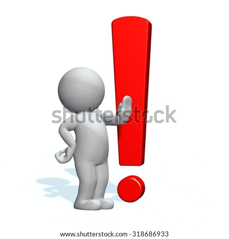 3d people - man, person and a red exclamation mark - stock photo