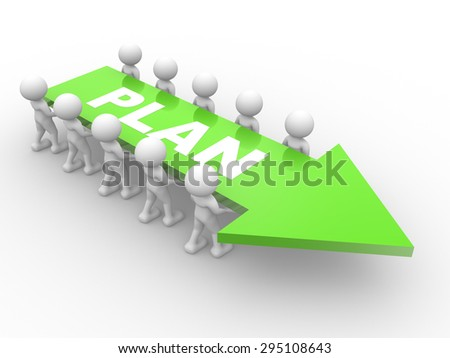 3d people - man, person and an arrow. Plan cocnept - stock photo