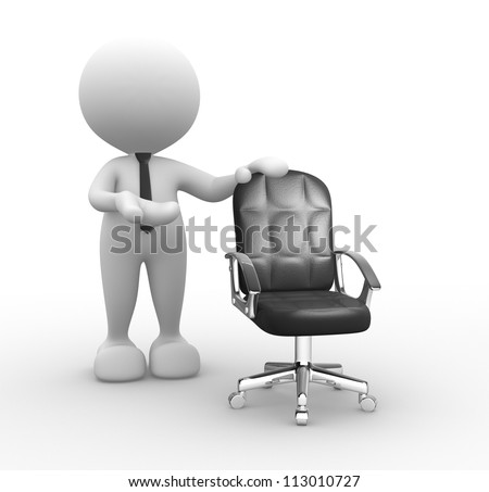 3d people - man, person and  an empty chair. - stock photo