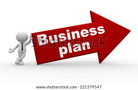 3d people - man, person and arrow. Business plan - stock photo
