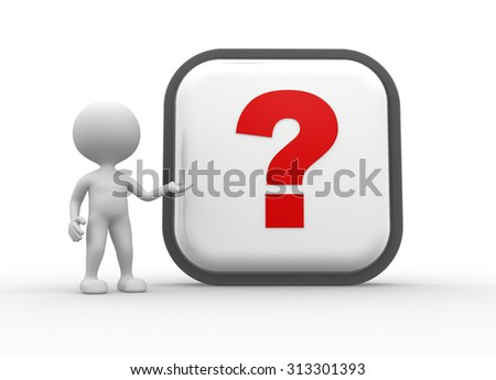 3d people - man , person and big button. Question mark - stock photo