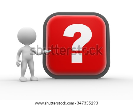 3d people - man, person and big button with question mark - stock photo