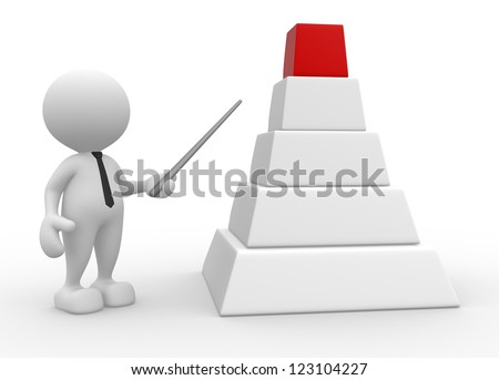 3d people - man, person and blank graph. Concept development - stock photo