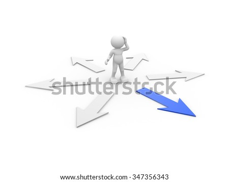 3d people - man, person and blue arrow . Confusion - stock photo