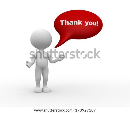 3d people - man, person and bubble. Thank you! - stock photo