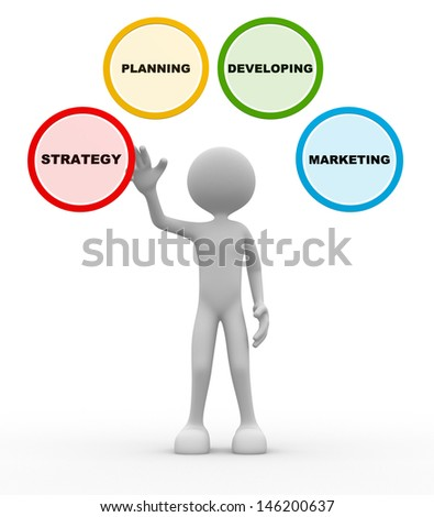 3d people - man, person and button with conceptual image of strategy. - stock photo