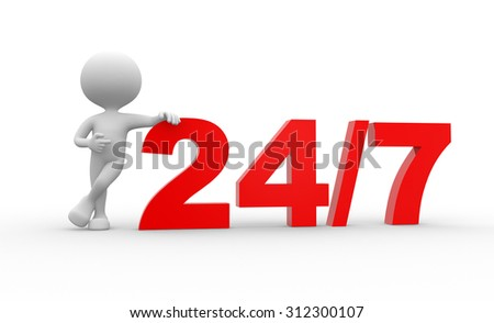 3d people - man , person and 24/7. Concept of support - stock photo