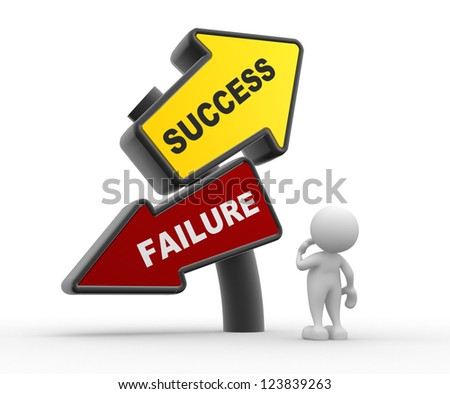 3d people - man, person and directional sign. Success or failure. Confused - stock photo