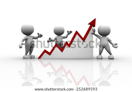 3d people - man, person and financial graph - stock photo