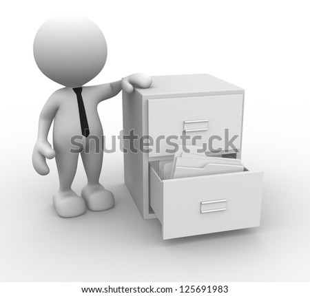 3d people - man, person and open drawer with white folders. - stock photo