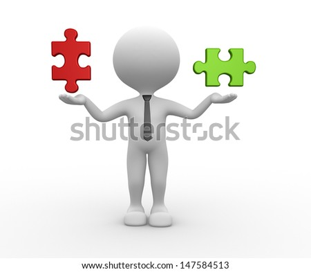 3d people - man, person and pieces of puzzle - stock photo