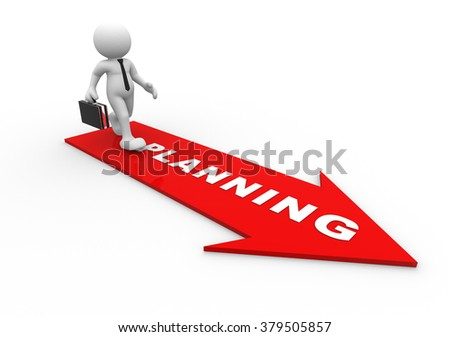 3d people - man, person  and red arrow. Planning concept - stock photo