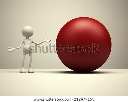 3d people - man, person and red sphere. - stock photo