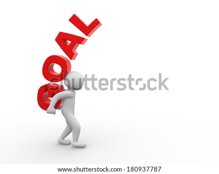 3d people - man, person and word GOAL  - stock photo