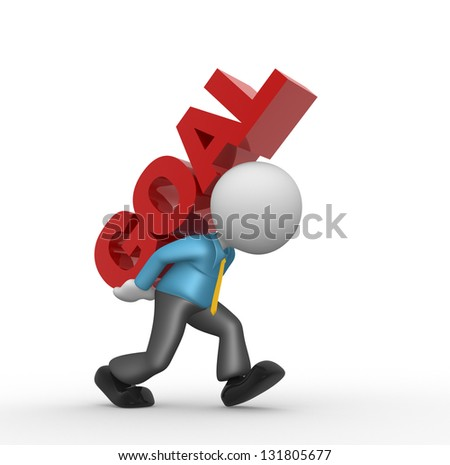 """3d people - man, person and word """"goal"""". The concept of success - stock photo"""