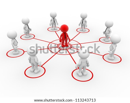 3d people - man, person arranged in a network. Teamwork and leadership - stock photo
