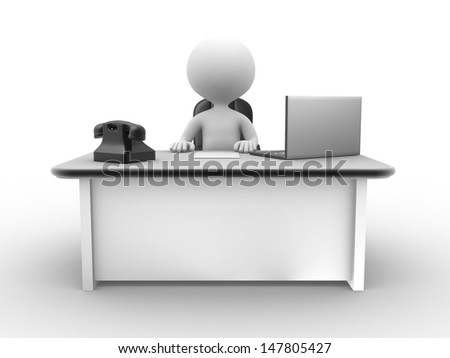 3d people - man , person at a office with a laptop and a phone - stock photo