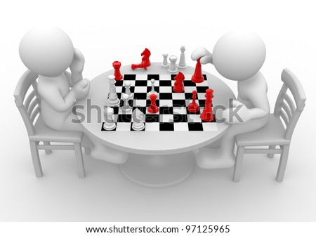 3d people - man, person at a table playing chess. - stock photo