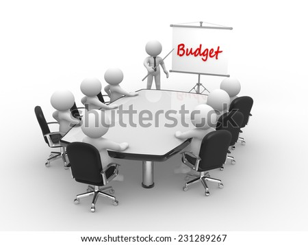 3d people - man, person at conference table and a flipchart. Budget - stock photo