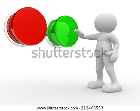 "3d people - man, person choosing between ""yes""or ""no"". Check.  - stock photo"