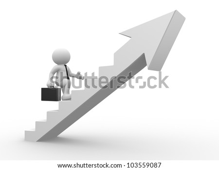 3d people - man, person climbing stairs with arrow . To Success. Businessman - stock photo