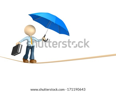 3d people - man, person doing balance with a briefcase and a umbrella.  - stock photo