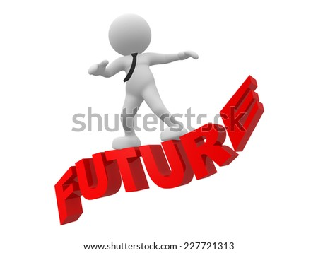 3d people  - man, person flying. Future concept - stock photo