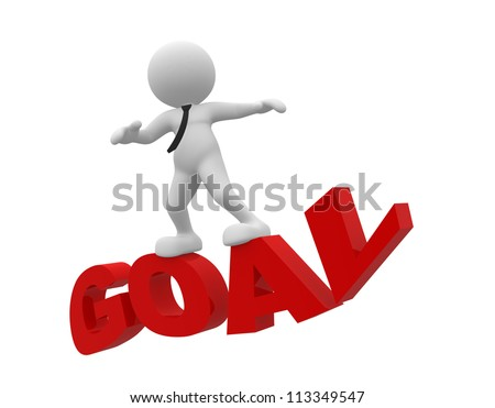 3d people - man, person flying on word goal. The concept of success - stock photo