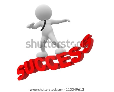 "3d people - man, person flying on word ""success"". The concept of success - stock photo"
