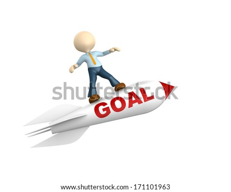 3d people - man, person flying. The concept of success  - stock photo