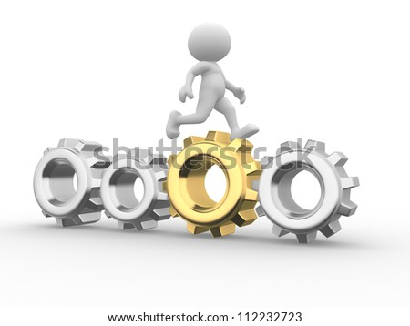3d people - man, person  go on with gear mechanism. Businessman - stock photo