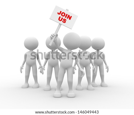 3d people - man, person - group leader with banner. Join us - stock photo