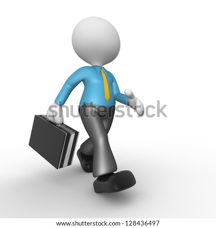 3d people - man, person hold a black briefcase . Businessman - stock photo