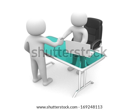 3d people - man, person in an office. Businessmen who shake hands - stock photo