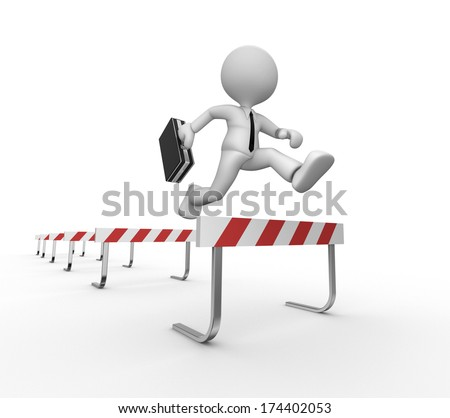 3d people - man, person jumping over a hurdle obstacle  - stock photo