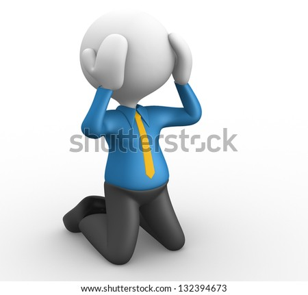 3d people - man, person knees. Businessman - stock photo