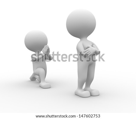 3d people - man, person on his knees asking for forgiveness - stock photo