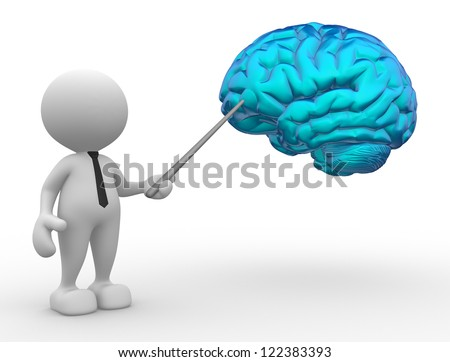 3d people - man, person pointing a brain - stock photo